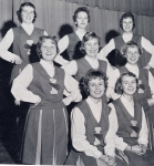 Ithaca High School Varsity Cheerleaders  1959-1960:   Front - Barb Jones, Danilee Gorman '61.  Middle - Sally Yengo, El