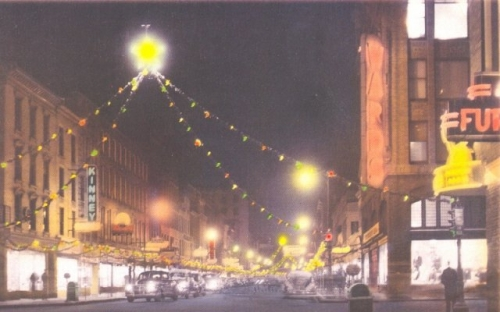 Holiday time in the late 40's or early 50's. State Street looking East from just West of Cayuga Street. Courtesy of Do