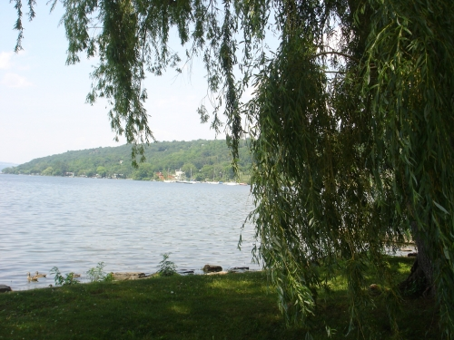 From a Stewart Park bench looking out on Cayuga Lake