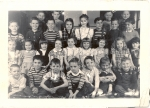 Fall Creek School: Probably Miss Dennison's 1st grade in 1949.  First row (L-R): Fred Wilcox, ______, ______, Jim Shelt