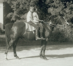 Alison MacLeod and Beverly Brink (circa 1952) riding Bev's pony, Tony Pony.